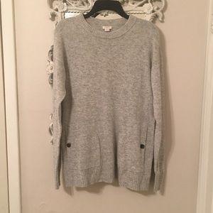 J. Crew grey button pocket sweater, size M